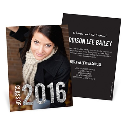 Glam Grad Vertical Photo Graduation Announcements