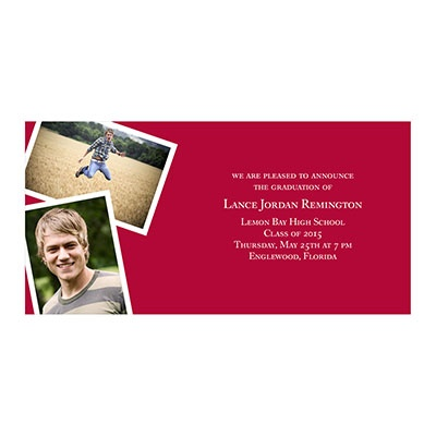 Photo Paper Two Snapshots Graduation Announcements