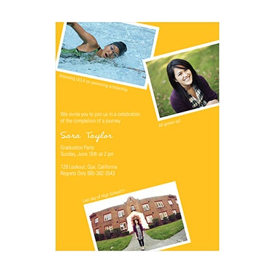 Photo Paper Oh Snap Yellow Graduation Announcements