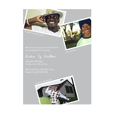 Photo Paper Oh Snap Gray Graduation Announcements