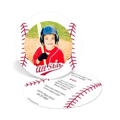 Baseball All Star Kids Birthday Invitations