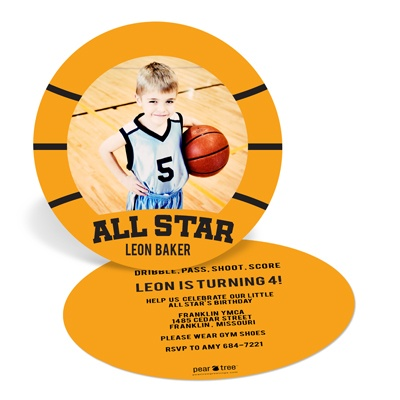 B-Ball Birthday Kids Birthday Invitations