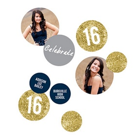 Glam Grad Gold Photo Table Decor -- Graduation Party Decorations