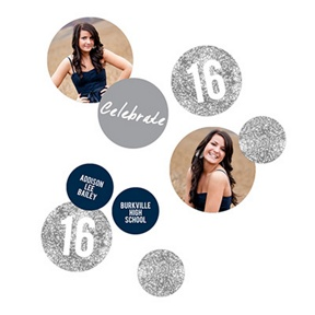 Glam Grad Silver Photo Table Decor -- Graduation Party Decorations