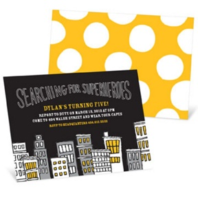 Searching for Superheroes -- Kids Birthday Invitations