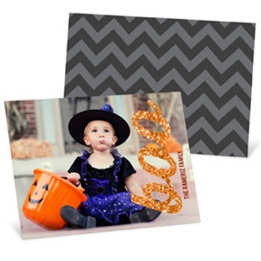 Glittery Boo Horizontal -- Halloween Photo Cards