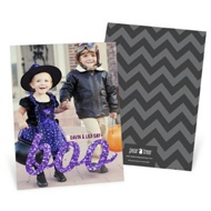 Glittery Boo Vertical Halloween Photo Cards