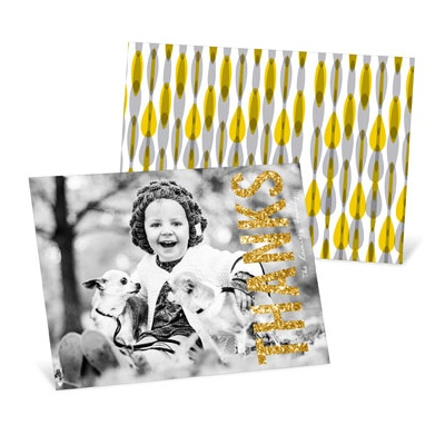 Gold Thanks Horizontal --Thanksgiving Photo Cards