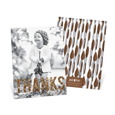 Mocha Thanks Vertical Thanksgiving Photo Cards