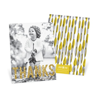 Gold Thanks Vertical Thanksgiving Photo Cards