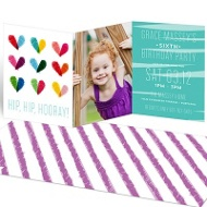 Colored Hearts Kids Birthday Invitations