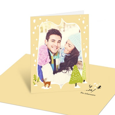 Woodsy Setting Holiday Photo Cards