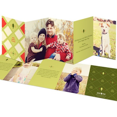 Five-Panel Argyle Photo Christmas Cards