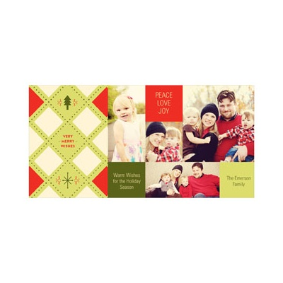 Photo Paper Three Panel Argyle Holiday Photo Cards