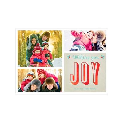 Photo Paper Joyful Collage Holiday Photo Cards