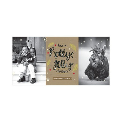 Photo Paper Holly Jolly Photo Christmas Cards