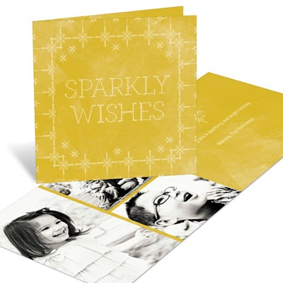 Sparkly Wishes Photo Christmas Cards