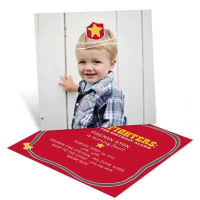 Sound The Alarm Firefighter Kids Birthday Invitations