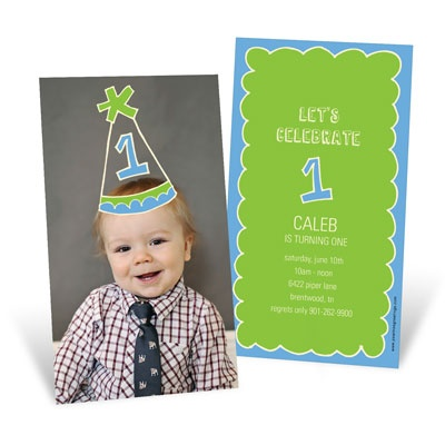 First Party Hat 1st Birthday Invitations