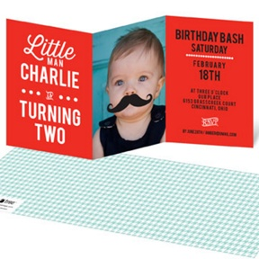 Mr. Mustache -- Kids Birthday Invitations