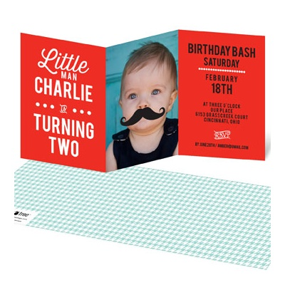 Mr. Mustache Kids Birthday Invitations