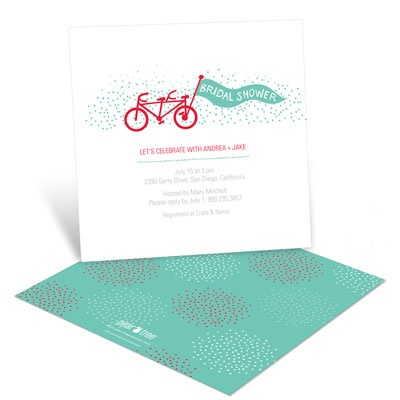 Tandem Ride Bridal Shower Invitations