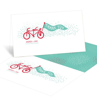 Tandem Ride Bridal Shower Thank You Cards