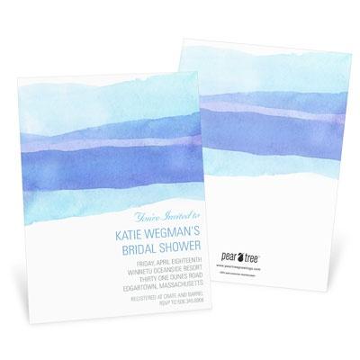 Watercolor Blue Bridal Shower Invitations