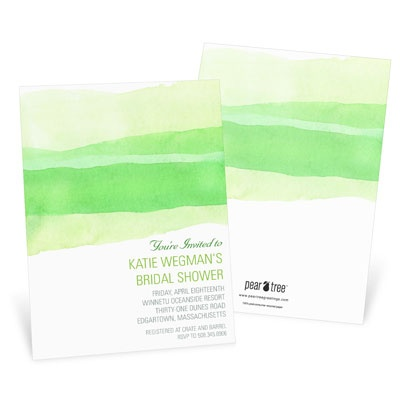 Watercolor Green Bridal Shower Invitations