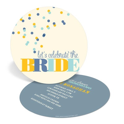 Blue and Gold Bubbles Bridal Shower Invitations