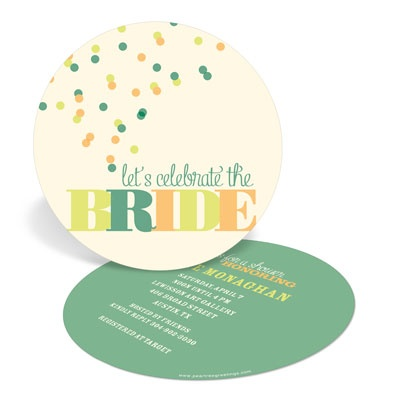 Green and Peach Bubbles Bridal Shower Invitations