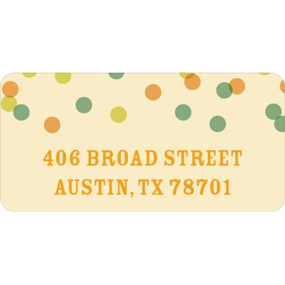 Green And Peach Bubbles Wedding Address Labels