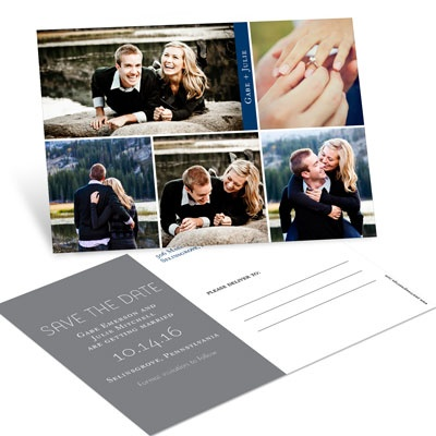 Five Photo Blocks Save the Date Postcards