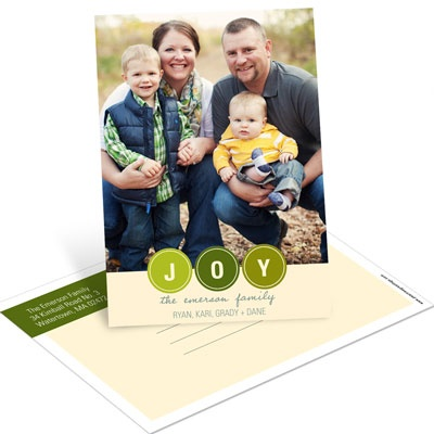 Bubbling with Joy Vertical Postcard Photo Christmas Cards