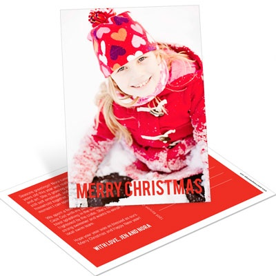 Big Greeting Vertical Postcard Photo Christmas Cards