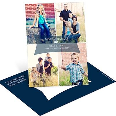 Modern Message Vertical Postcard Photo Christmas Cards