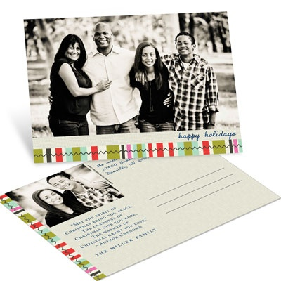 Photo Blocks and Stripes Postcard Photo Christmas Cards