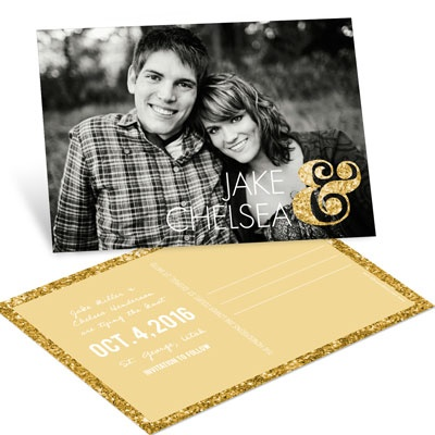 Glittery Ampersand Save the Date Postcards