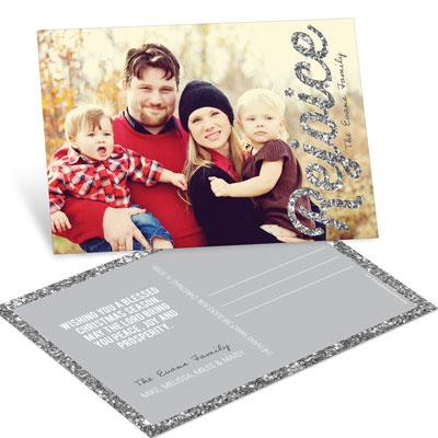 Time To Rejoice In Silver Postcard Photo Christmas Cards