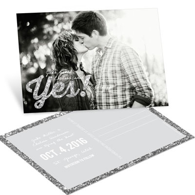 Glittery Yes Save the Date Postcards