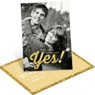 Glittery Yes Vertical Save the Date Postcards