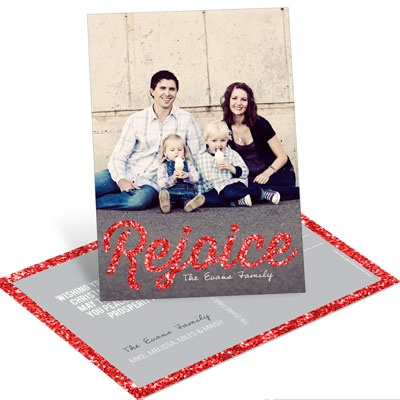 Time To Rejoice In Red Vertical Postcard Photo Christmas Cards