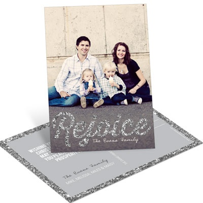 Time To Rejoice In Silver Vertical Postcard Photo Christmas Cards