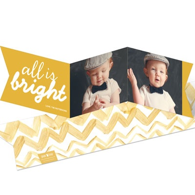 Gold Ribbon Holiday Photo Cards