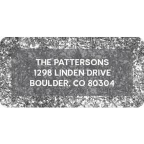 Silver Glitter -- Christmas Address Labels