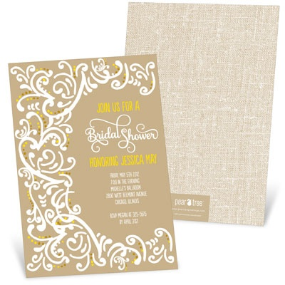 Romantic Filigree Bridal Shower Invitations