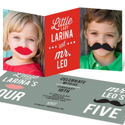 Two Silly Kids Kids Birthday Invitations