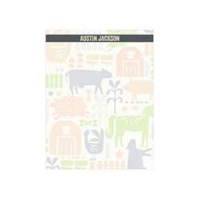 Farm Yard Friends In Green -- Custom Notepads