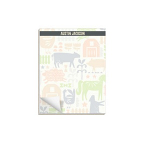 Farm Yard Friends In Green -- Notepads