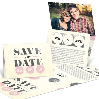 Vintage Chic Tri Fold Save the Date Cards